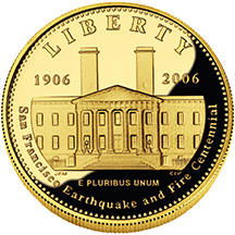 2006 San Francisco Old Mint Commemorative Coin Program Gold Proof $5 Obverse